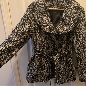 Black and White textured poly/wool jacket coat PL
